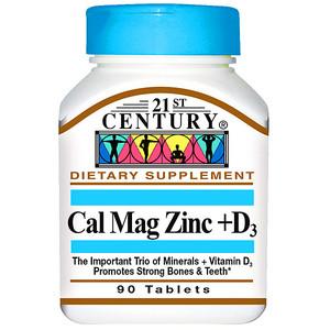 21st Century Cal Mag Zinc +D3 Кальций Магний Цинк и витамин D3, 90 таблеток