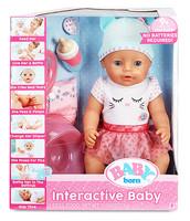 Интерактивный пупс голубые глаза Baby Born Interactive Crying and Eating Doll