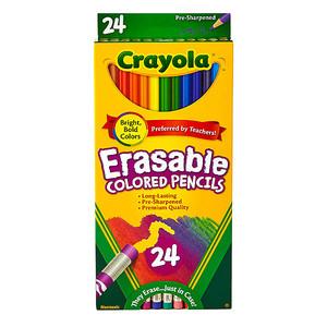 Цветные легко-смываемые карандаши с ластиками Crayola Erasable Colored Pencils 24 штуки