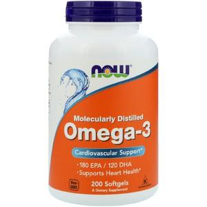 Now Foods, Омега-3, 200 мягких желатиновых капсул